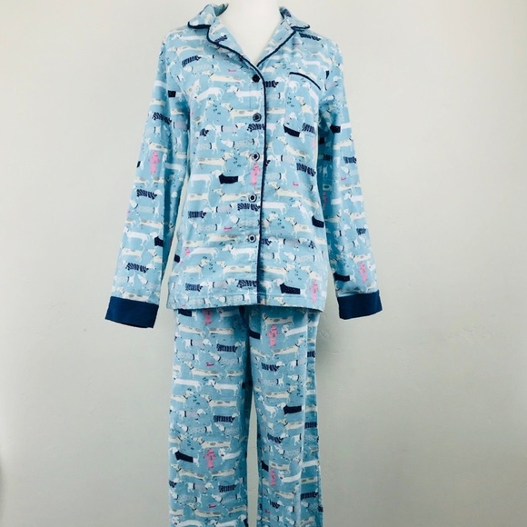 df7446b37d NEW Munki Munki flannel pajamas Dachshund dog blue